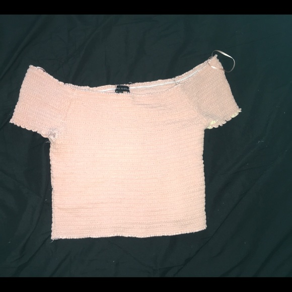 Kendall & Kylie Tops - Kendall and Kylie peach off the shoulder crop top